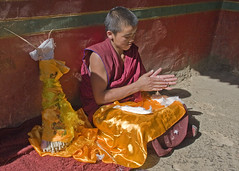 Concentration (bag_lady) Tags: approved youngmonk buddhist monastery tashilhunpomonastery shigatse xigaze tibet concentration making buddhism