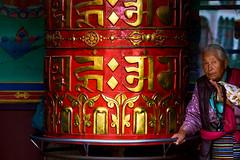 Women spinning a giant prayer wheel at Boudhanath Stupa in Kathmandu, Nepal (BryonLippincott) Tags: nepal boudhanathstupa asia centralasia religion temple kathmandu tibetan prayerwheel cylindrical sanskrit nepalese nepali asian southernasia inside indoors day daytime travel destination tradition traditional culture heritage religious hindu hinduism spirituality interior old ancient building architecture exterior facade buddhist buddhism stupa monument woman