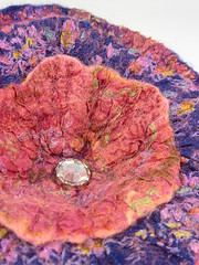 Autumn Vintage Silk & Felt Corsage 2 (Natasha Smart Textiles) Tags: felt wetfelted uk nuno flower corsage vintage sari silk autumn blue terracotta handmade merinowoolfleece crystal bead
