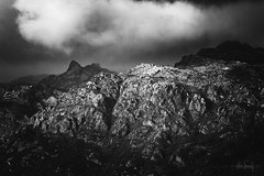 Standin' on a hill in the mountain of dreams (RuiFAFerreira) Tags: beauty bw black blackwhite canon exterior gerês contrast light landscape mood portugal rocks monochromat monochrome mountains shadow sunset