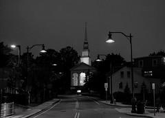 Mystic by night (CTfoto2013) Tags: landscape paysageurbain cityscape shadows light lumiere ombre nightshot atmosphere ambiance bn bw nb newengland connecticut mystic iconic blancoynegro blackandwhite noiretblanc iglesia eglise church