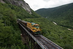 The return trip (jc_canon) Tags: conwayscenic conwayscenicrailroad csrx notchtrain crawfordnotch newhampshire hartslocationnewhampshire willeybrook willeybrooktrestle train passenger passengertrain mountains bridge railroadtrestle csrx252 emdgp38 emd gp38