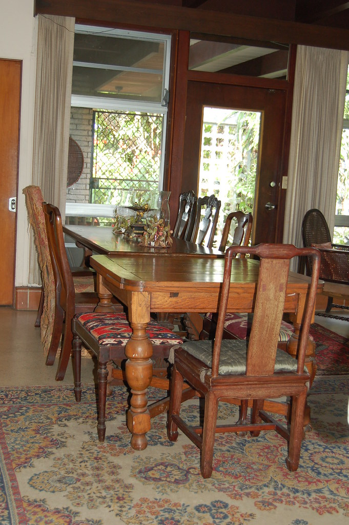 12 foot Long table and various friendly chairs and stools