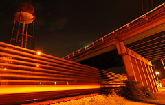 Converging Lines. (BamaWester) Tags: longexposure railroad bridge topf25 night train nightshot been1of100 watertower alabama decatur weeklysurvivor bamawester napg abigfave hanginwithsmugmugged