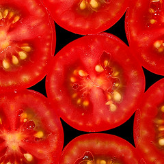 Star of the kitchen (Rune T) Tags: red black macro topf25 tomato square star topv555 pattern close fresh seeds inside sliced shape fruitandvegetable gtaggroup goddaym1 onglassplate themesaturated
