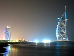 Jumairah and Burj (Farhan Khan) Tags: sea beach hotel dubai 7star burj jumairah