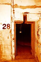 The door (candysnap) Tags: door bw abandoned sepia decay destruction documentary australia gritty vandalism adelaide sa trespassing reallife twotone abortoir