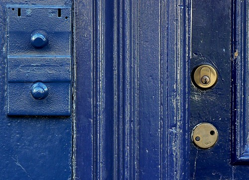 detail photograph indigo blue door