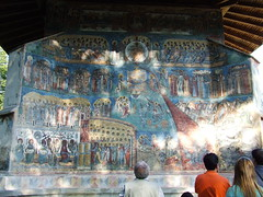 "the famous ""Voronet blue"" (annaga) Tags: blue building art history church wall architecture painting paint heaven unique famous religion hell monastery angels romania devil demons afterdeath voronet bucovina suceava judjement"