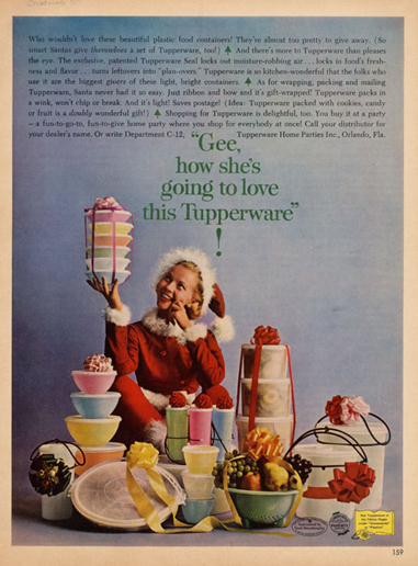Tupperware ad, christmas theme, 1950s?