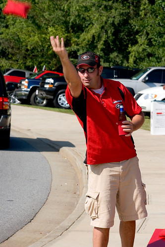 A student at the university of georgia tailgating on game day