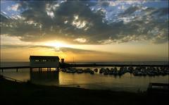 (*Christian) Tags: ocean light sunset sea sky france reflection topv111 golden pier brittany colorful colours harbour lumire albaluminis bretagne breizh ciel phare dimagea2 topvaa penarbed