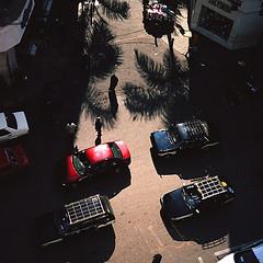 Qasr el-Nil (antecanis) Tags: africa city travel shadow tree 120 6x6 film mediumformat geotagged fuji taxi egypt palm cairo yashica caire yashicad