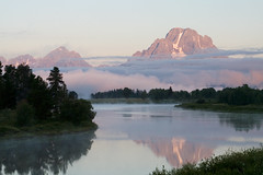 Reflection in Oxbow Bend (Robby Edwards) Tags: vacation mountains water tag3 taggedout sunrise river nationalpark tag2 tag1 searchthebest quality snakeriver wyoming mountmoran grandteton grandtetonnationalpark naturesfinest oxbowbend specland specnature abigfave
