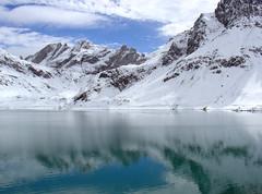 Lünersee (mattrkeyworth) Tags: blue lake snow mountains reflection water beauty landscape austria sony scenic alpinelake v1 dscv1 luenersee mattrkeyworth