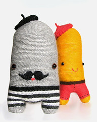 (sandra juto) Tags: pink orange brown black wool alpaca animal mouth happy grey eyes stripes crochet moustache yarn buttcrack softies trousers beret asscrack bumcrack