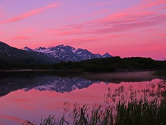 Midnight Sunset (Matt Champlin) Tags: life longexposure pink sunset orange lake mountains reflection nature alask