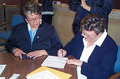 Michelle Ritchot and Stefphany Cholakis apply for a marriage license: Sept. 16, 2004 (Queer History of Winnipeg) Tags: gay lesbian geotagged marriage historic application license queer licence apply samesexmarriage queerhistory vitalstatistics queerwinnipeg winnipeghistory geolat49894254 geolon97141156