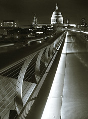 over the bridge (MSH*) Tags: bridge london night nikon long exposure nightshot stpauls nikond50 wires milleniumbridge oldnew londonbuildings