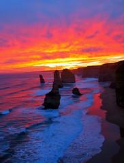 sunset 12 apostles, shipwreck coast, great ocean road victoria (gervo1865_2 - LJ Gervasoni) Tags: ocean sunset water weather waves erosion coastal geology greatoceanroad twelveap
