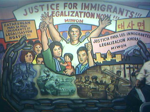 Mural at Miwon / Kiwon Immigrant Workers Office in Korea Town Los Angeles. צילום: rabble. מתוך: flickr