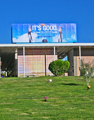 "Goal!- or ""I'm going to Hell for thinking this is funny"" (yvern99) Tags: blue newmexico cemetery grave graveyard sign football goal albuquerque billboard irony easilyamused imgoingtohellforthinkingthisisfunny sunsetmemorialpark"