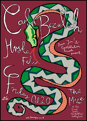 CARLA BOZULICH (Sumlin) Tags: nottingham records tattoo illustration poster design diy graphic you felix snake carla damn gigs shows geraldine constellation fibbers damnyou carlabozulich bozulich thespeedingtrain hrsta donoteventhinkaboutstealingthis