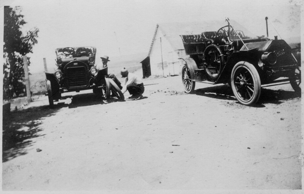 Changing Tires, c.1910