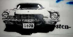 Sten car 1979 (Smeerch) Tags: auto italy streetart stencils black rome roma muro art cars car wall graffiti stencil automobile paint italia arte can spray walls cans graffito sten 1979 nero nera spraycan lazio paints vernice vernici muri automobili lattina bombolette bomboletta artedistrada viareginamargherita