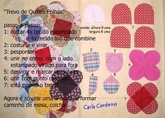 Aulinha: Trevo de quatro folhas (Carla Cordeiro) Tags: wip patchwork pap trevo retalhos passoapasso scrapy floresdetecido aulinha aulinhasdacarla