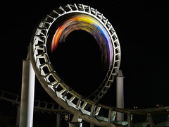 DSCF09378 Coaster by night (A Different Perspective) Tags: auckland newzealand blur dark light night park rainbow rainbowsend ride rollercoaster