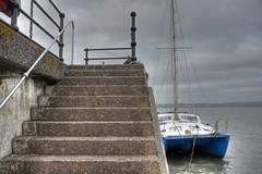 winter grey, Appledore (BoblyP) Tags: boblyp harbour sea seafront seaside appledore devon england uk unitedkingdom boat catamaran steps southwestengland