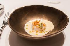 calamari with citronella foam (nzfisher) Tags: food cuisine fork bowl bokeh calamari citronella foam barcelona spain abac restaurant michelin 24mm canon travel holiday