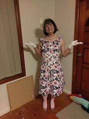 Pretty In Pink (justplainrachel) Tags: justplainrachel pink retro vintage dress fascinator gloves heels transvestite crossdresser floral print cd tv trans tights