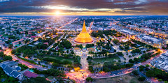 Sunset scene of Phra Pathom chedi Oldest Buddhist structure in Thailand. One of the most important places for Buddhists in Thailand can be found in Nakhon Pathom, one of the oldest cities in Thailand. (MongkolChuewong) Tags: aerial aerialview ancient architecture art asia ayutthaya bangkok big buddha buddhism building chedi city cityscape community culture faith famous golden grand heritage historic history landmark large largest light nakhon old pagoda panorama pathom phra religion sky structure stupa sukhothai sunset temple thai thailand tourism traditional travel view wat worship yellow nakhonpathom changwatnakhonpathom th
