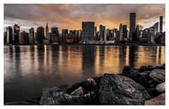 Sunset from Gantry Plaza Park - Manhattan (mariolka3) Tags: rocks river water nikkor2470 nikon sunset architecture buildings skyscrapers manhattan newyork nyc
