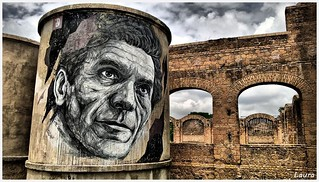 Street art in Rome - Murales of the poet and author Pier Paolo Pasolini at the India Theatre