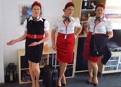 New uniforms (Rikky_Satin) Tags: silk satin blouse scarf skirt dress belt hat pantyhose nylons pumps highheels crossdresser crossdressing feminization transformation transvestite tgirl tgurl gurl sissy stewardess flight attendant crew uniform