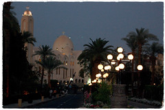 Magical Places and Things -Egypt- The Nile (7) (The Spirit of the World ( On and Off)) Tags: aswan egypt city oldcataracthotel driveway lights mosque night famoushotel landmark dark agathachristie streetlamps evening bluehour