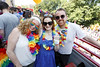 Laura MacNaughton and Aisling Bridgeman and Padraig Heneghan pictured on the Mamma Mia! Here We Go Again float at this year's Dublin Pride Parade, Saturday June 30th. Picture Andres Poveda
