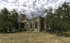 The church of St. Mary the Virgin, Staindrop (Durham George) Tags: mary church cathedral staindrop grave grass stone tree sky clouds tower clock window glass stained