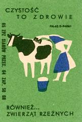 polish matchbox label (maraid) Tags: polish poland matchbox label packaging outdoors green animal grass cow maid pale bucket brush 1960s 1965