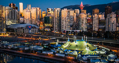 2017 - Vancouver - KURIOS: Cirque Du Soleil (Ted's photos - For Me & You) Tags: bc britishcolumbia canada cropped nikon nikond750 nikonfx tedmcgrath tedsphotos vancouver vancouverbc vancouvercity vignetting kurioscirquedusoleil vancouverkurioscirquedusoleil kurioscirquedusoleilvancouver tents eastvancouver sunrise sunreflection reflections cityview towers viaduct eastfalsecreek falsecreekeast falsecreek red redrule 2017 cans2s