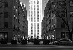 High Noon at Rockefeller Center (Kenneth Laurence Neal) Tags: newyorkcity rockefeller center urban noir shadows high contrast architecture buildings street road people cars monochrome cityscape