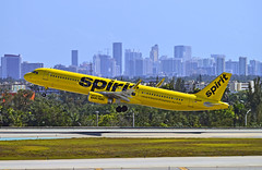 Backlit (Infinity & Beyond Photography) Tags: spirit airlines airbus a321 backlit airplane airliner aircraft city skyline fll ft fort lauderdale airport
