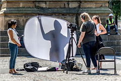 It's Magic (Fermat 48) Tags: albertsquare manchester men manchestereveningnews interview filmcrew diffuser reflector microphone canon eos 7dmarkii lunchtime sunshine sunny magic