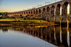 River Crossing (Peter Leigh50) Tags: high speed train hst bridge viaduct railway railroad rail reflection river sunlight sunshine shadows water berwick upon tweed house fujifilm fuji xt2