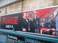 The First Purge Movie Poster Art 35th St 8th Ave NYC 4996 (Brechtbug) Tags: the first purge posters billboard horror film prequel standee billboards movie poster art rioting masked protesters mayhem 36th street near 8th ave amc theatre new york city 07072018 nyc 2018 graffiti looking arts mural subway entrance mask costume costumed post apocalyptic political satire politics violence violent humor riot riots gang mob hunting people down hunt version most dangerous game battle royal crime criminals terror terrorists terrorist