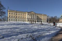 Palacio real - Oslo (José M. Arboleda) Tags: arquitectura edificio cielo calle gente estatua nieve palacio real carlxivjohan rey suecia noruega oslo canon eos 5d markiv josémarboledac ef1635mmf4lisusm