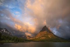 Consonance (Ramen Saha) Tags: glaciernationalpark glacierlake lake mountgrinnell mtgrinnell swiftcurrentlake clouds sunrise montana ramensaha nationalpark manyglacierhotel water